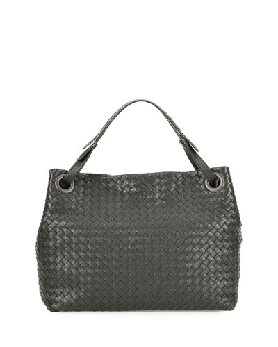 Medium Intrecciato Shoulder Bag, Gray