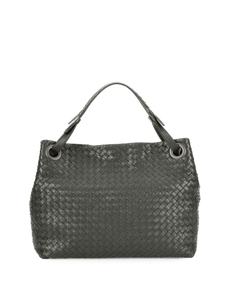 Bottega Veneta Medium Intrecciato Shoulder Bag, Gray