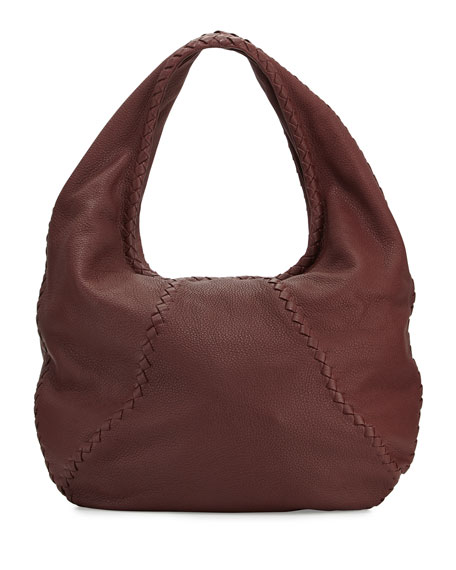 Cervo Large Leather Hobo Bag, Wine