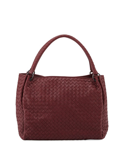 Medium Intrecciato Leather Parachute Tote Bag, Wine