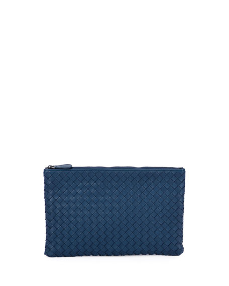 XL Intrecciato Leather Cosmetics Pouch, Cobalt Blue
