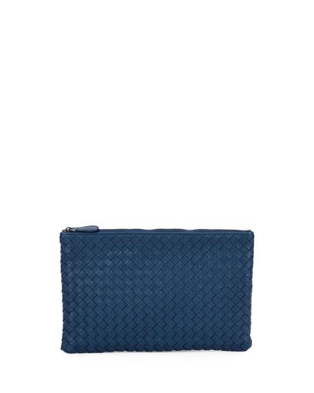 XL Intrecciato Leather Cosmetics Pouch, Cobalt Blue