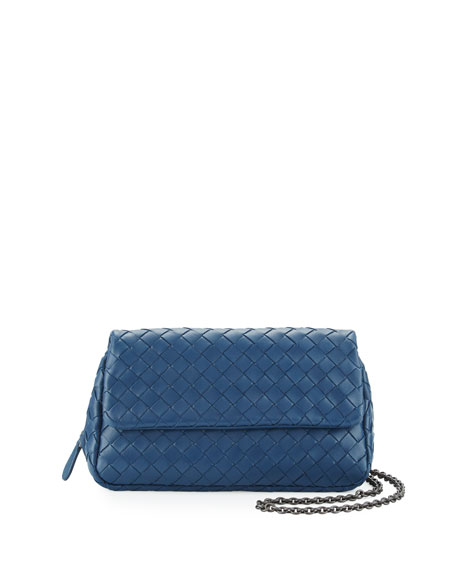 Intrecciato Small Chain Crossbody Bag, Cobalt Blue