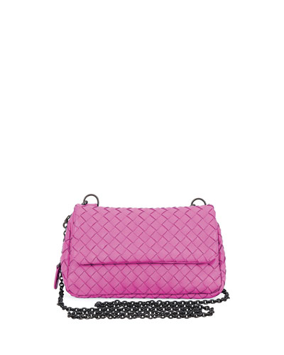 Intrecciato Small Chain Crossbody Bag, Pink/Bronze