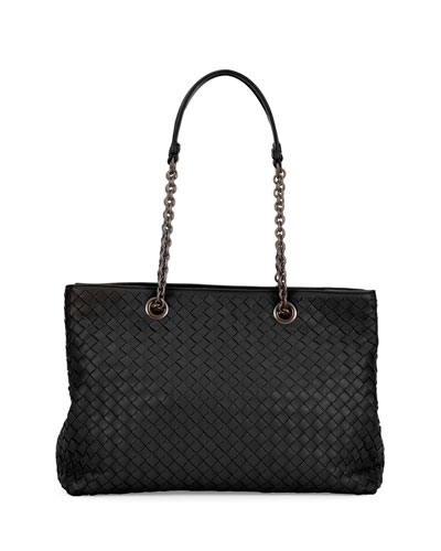 Small Double-Chain-Handle Intrecciato Tote Bag, Black