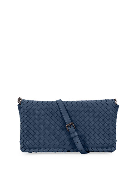 Small Intrecciato Flap Clutch Bag w/Strap
