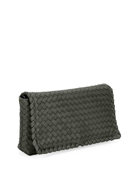 Small Intrecciato Flap Clutch Bag w/Strap, Gray