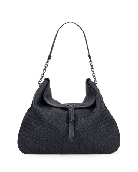 Intrecciato Cervo Flap-Top Hobo Bag, Denim Blue
