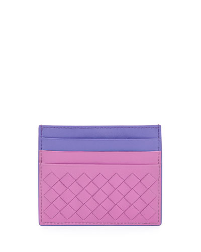 Intrecciato Leather Card Case, Pink