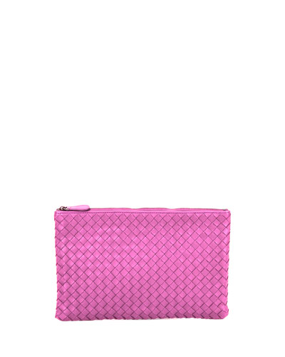 XL Intrecciato Leather Cosmetics Pouch, Pink