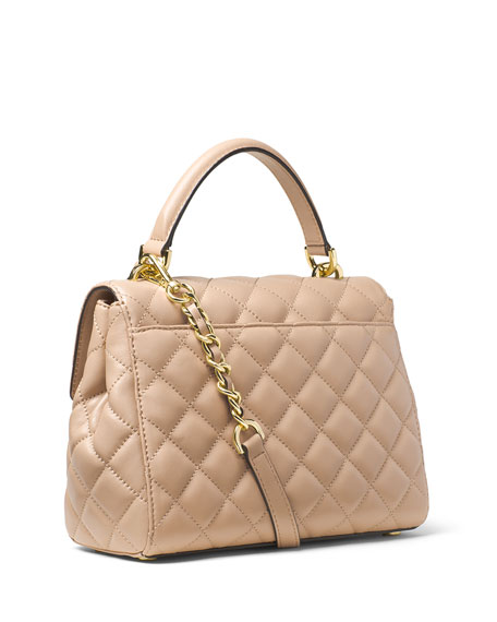 1315b6125148 MICHAEL Michael Kors Ava Small Quilted Leather Satchel Bag, Bisque
