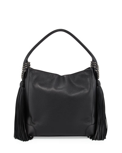 Eloise Fringe Leather Hobo Bag, Black