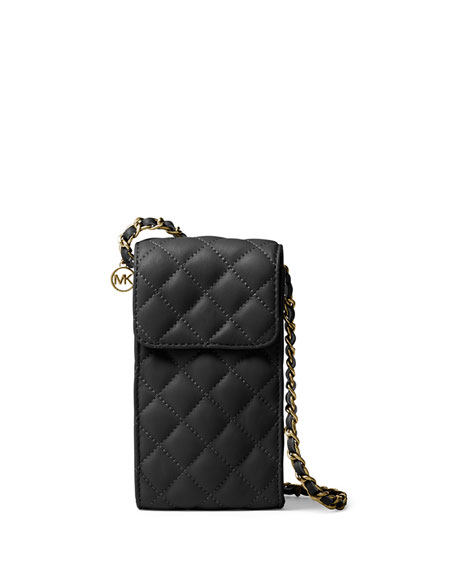 MICHAEL Michael Kors Sloan Phone Quilted Chain Crossbody Bag, Black