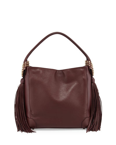 Eloise Fringe Leather Hobo Bag, Bordeaux