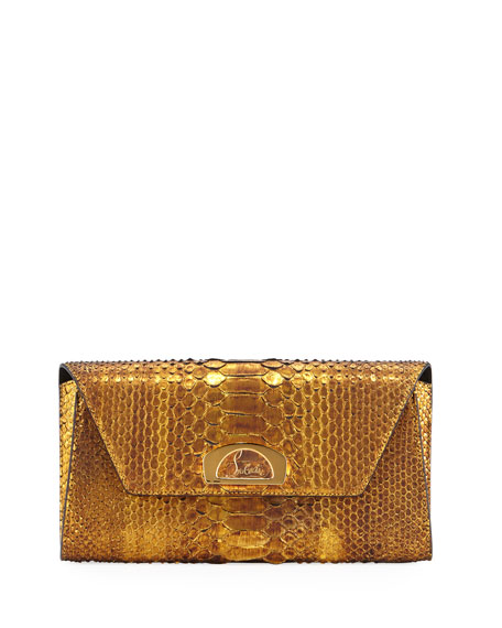 Christian LouboutinRiviera Metallic Python Clutch Bag, Gold
