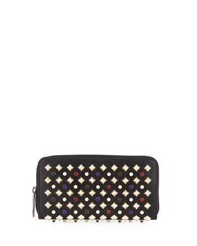 Panettone Tudor Studs Zip Wallet, Black