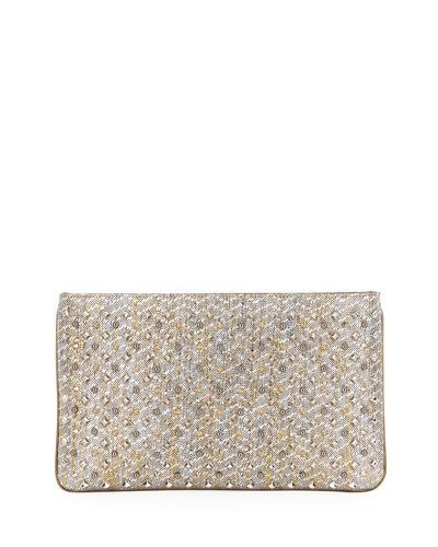 Loubiposh Metallic Spike Raffia Zip Clutch Bag, Gold/Silver