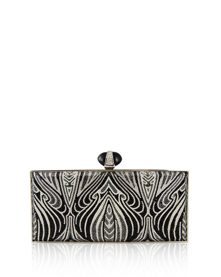 Judith Leiber Couture Large Coffered Rectangle Clutch Bag, Silver Jet Multi