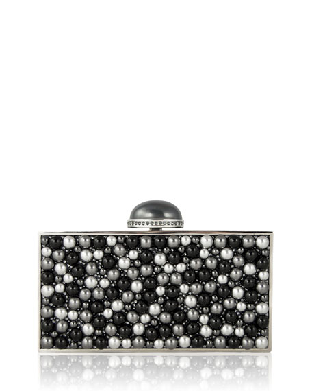 Perfect Rectangle Pearly Crystal Clutch Bag, Silver/Gray