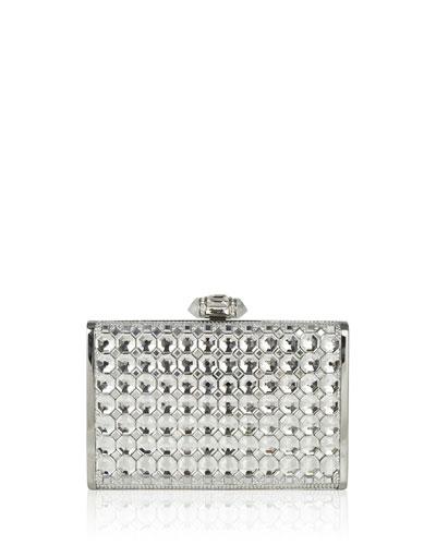 Tall Slender Rectangular Crystal Clutch Bag, Silver