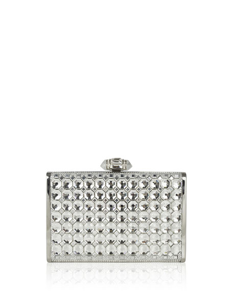 Tall Slender Rectangular Crystal Clutch Bag, Silver