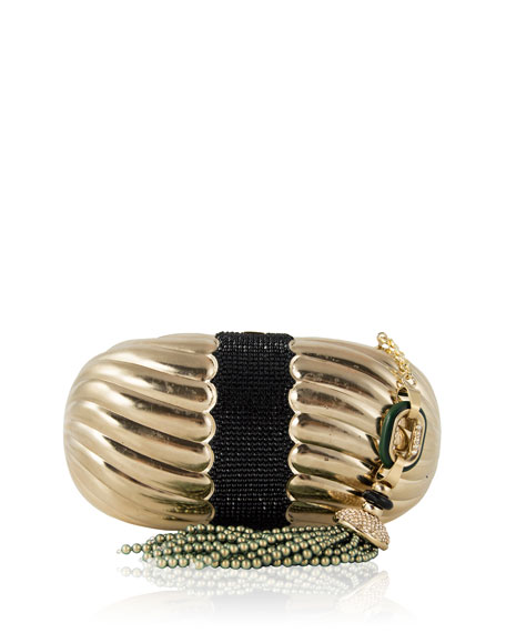 Ribbed Soap Dish Clutch Bag, Champagne Jet