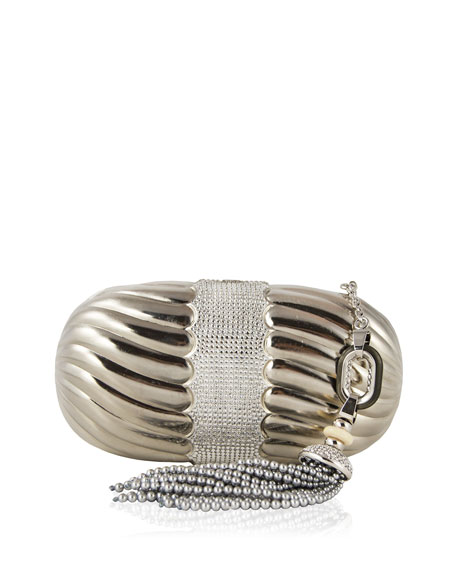 Ribbed Soap Dish Clutch Bag, Silver