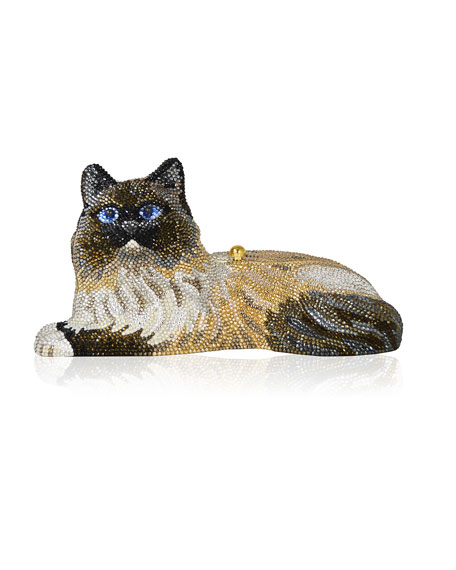 Fluffy Cat Crystal Clutch Bag, Champagne