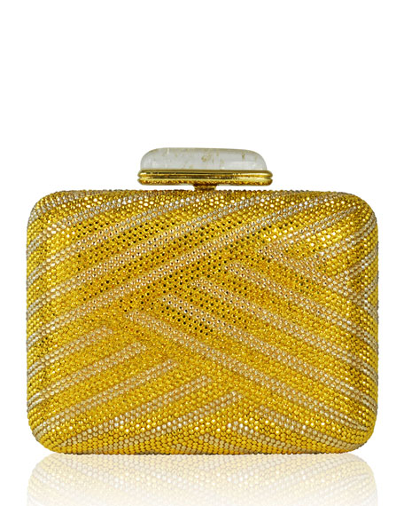 Large Slim Rectangle Crystal Clutch Bag, Champagne Aurum