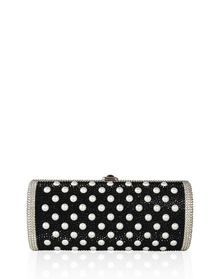 Cylinder Crystal Clutch Bag, Silver Jet/Multi