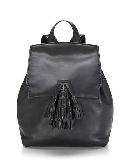 Sofia Leather Backpack w/Tassels, Black