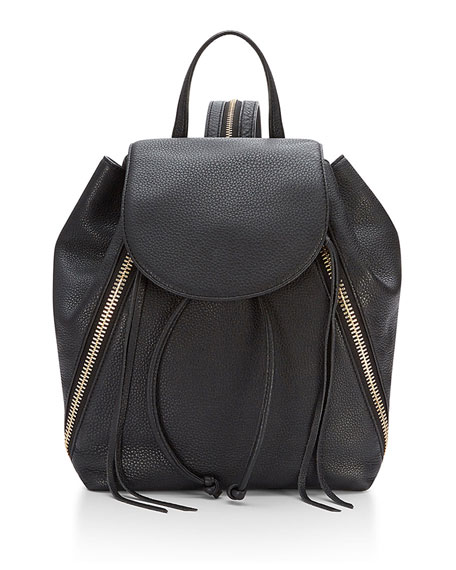 Bryn Zip-Trim Leather Backpack, Black
