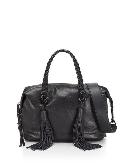 Renee Leather Satchel Bag, Black
