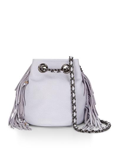 Bruni Fringe Bucket Bag, Pale Lilac