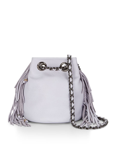Bruni Fringe Bucket Bag, Pale Lilac