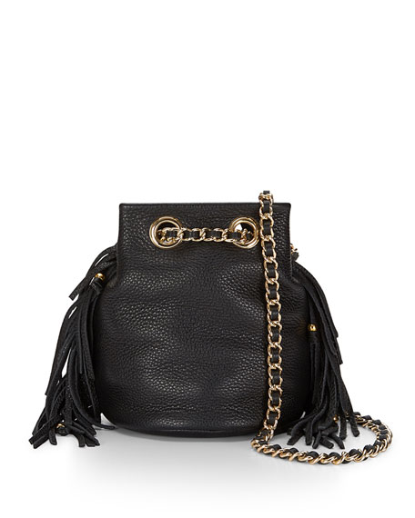 Bruni Fringe Bucket Bag, Black