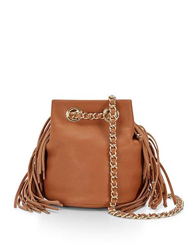 Bruni Fringe Bucket Bag, Almond