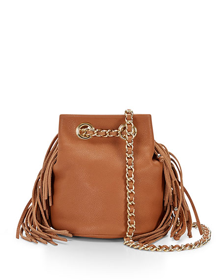 Rebecca Minkoff Bruni Fringe Bucket Bag, Almond