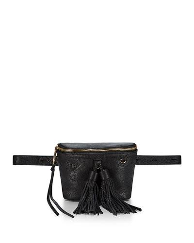 Wendy Leather Belt Bag, Black