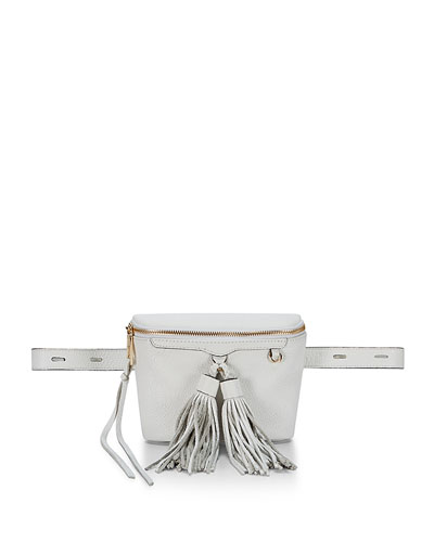 Wendy Leather Belt Bag, White