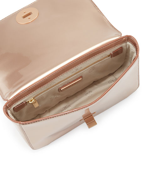 Mercer Metallic PVC Shoulder Bag, Rose Gold