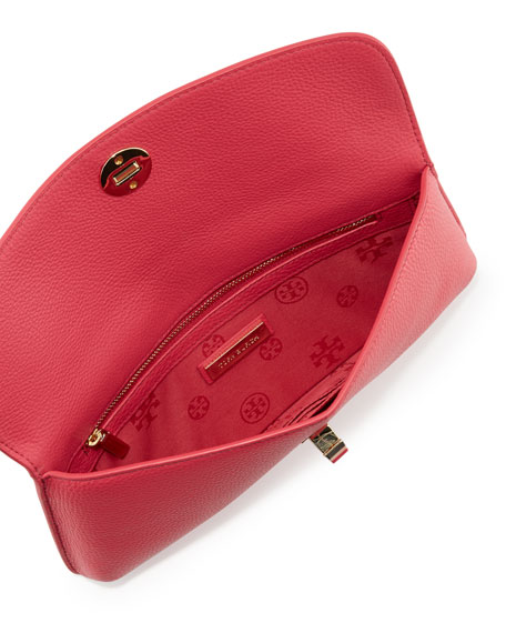 Diana Leather Clutch Bag, Dark Peony