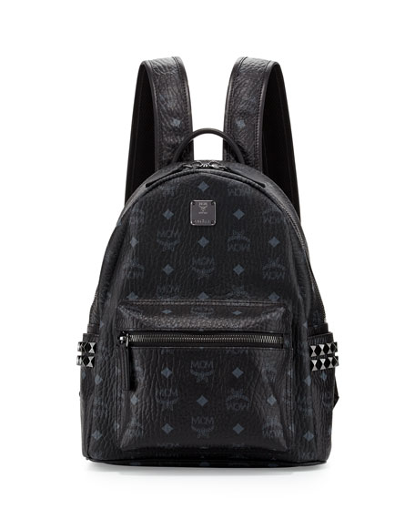 MCM Stark Visetos Side-Stud Small Backpack, Black