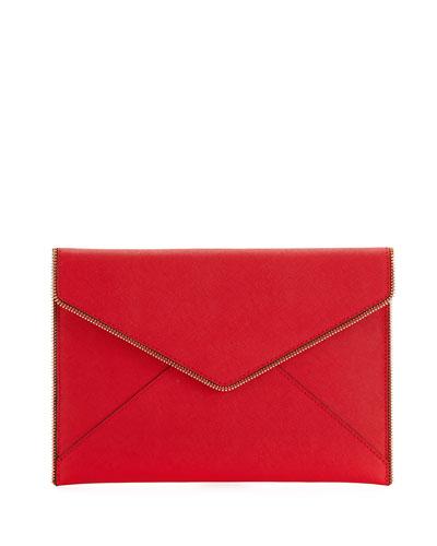 Leo Saffiano Zip-Trim Clutch Bag, Red