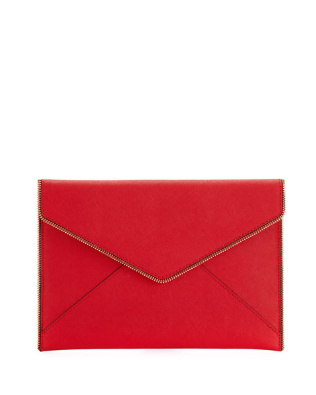 Leo Saffiano Zip-Trim Clutch Bag, Red
