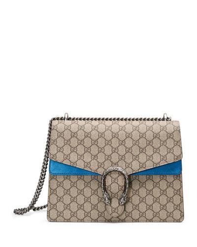 Dionysus GG Supreme Shoulder Bag, Beige/Bright Blue