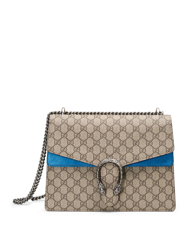 08d15c9cfeec Gucci Dionysus GG Supreme Shoulder Bag, Beige/Bright Blue   Neiman ...