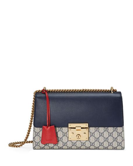 Padlock GG Supreme Shoulder Bag, Beige/Blue