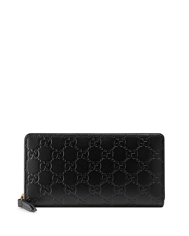 f492e8910c0b68 Gucci Gucci Signature Zip-Around Wallet, Black   Neiman Marcus