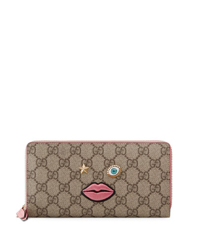 Embroidered-Face Zip-Around Wallet, Multicolor/Rose